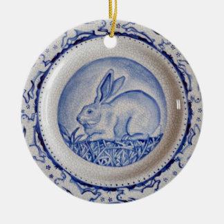 "Blue & White Rabbit Pottery Ornament,""Dedham Blue"" Double-Sided Ceramic Round Christmas Ornament"