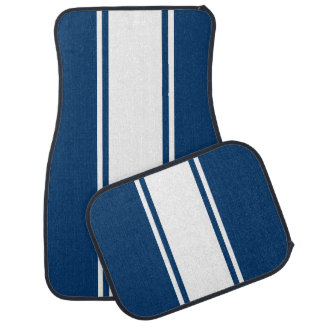 Blue & White Racer Stripe Car Mats
