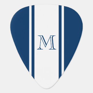 Blue & White Racer Stripe Monogram Guitar Pick