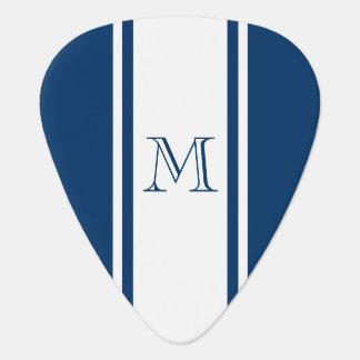 Blue & White Racer Stripe Monogram Guitar Pick