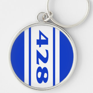 Blue White Racing Stripes 428 Motor Size Keychain