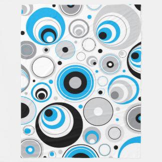 Blue White Random Circles Pattern Fleece Blanket