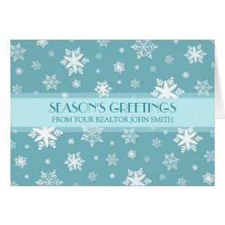 Blue White Real Estate Season's Greetings Card