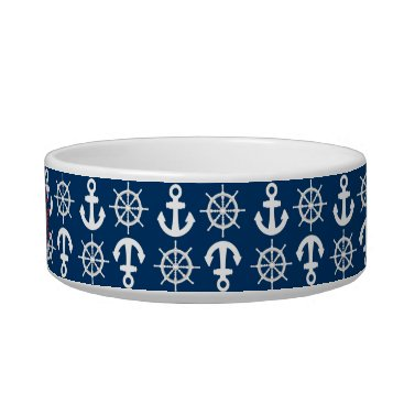Beach Themed Blue White Red Nautical Beach Anchors Wheels Bowl
