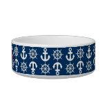 Blue White Red Nautical Beach Anchors Wheels Pet Water Bowls