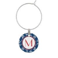 Blue White Red Nautical Beach Anchors Wheels Wine Glass Charm