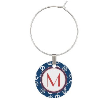 Beach Themed Blue White Red Nautical Beach Anchors Wheels Wine Glass Charm