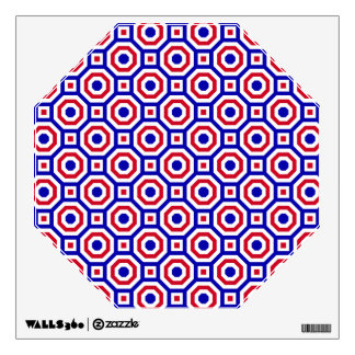 Blue/White/Red Nested Octagon Wall Decal