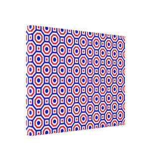 Blue/White/Red Nested Octagon Wrapped Canvas
