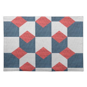 USA Themed Blue White Red Salmon Geometric Placemat