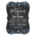 Blue & White Retro Chalkboard Retirement Party Card