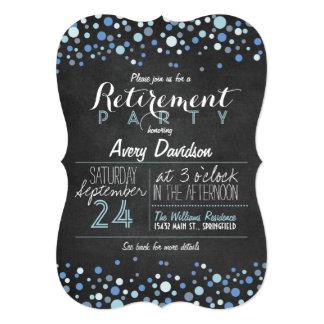 Blue & White Retro Chalkboard Retirement Party 5x7 Paper Invitation Card