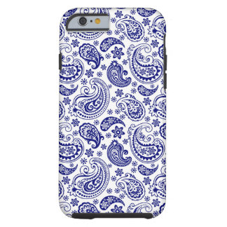 Blue & White Retro Paisley Ham Pattern Tough iPhone 6 Case
