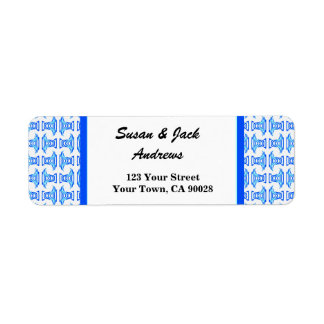 Blue White Retro pattern wedding Label