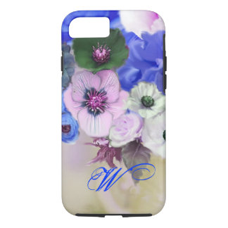 BLUE WHITE ROSES AND ANEMONE FLOWERS MONOGRAM iPhone 8/7 CASE