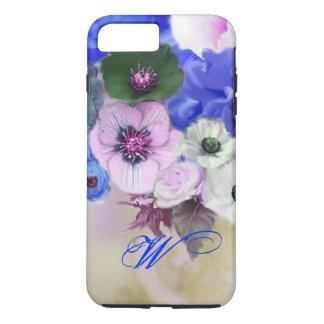BLUE WHITE ROSES AND ANEMONE FLOWERS MONOGRAM iPhone 8 PLUS/7 PLUS CASE