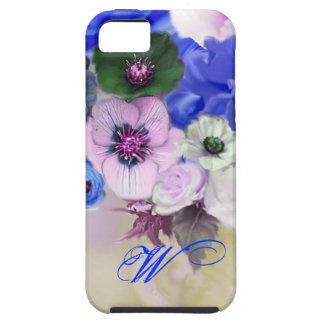 BLUE WHITE ROSES AND ANEMONE FLOWERS MONOGRAM iPhone SE/5/5s CASE