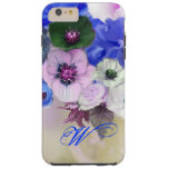 BLUE WHITE ROSES AND ANEMONE FLOWERS MONOGRAM TOUGH iPhone 6 PLUS CASE