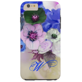 BLUE WHITE ROSES AND ANEMONE FLOWERS MONOGRAM TOUGH iPhone 6 PLUS CASE