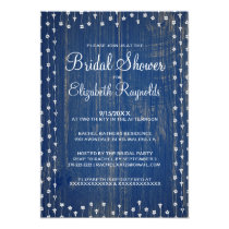 Blue White Rustic Country Bridal Shower Invitation