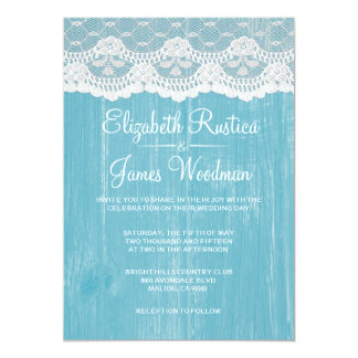 "Blue & White Rustic Lace Wood Wedding Invitations 5"" X 7"" Invitation Card"