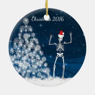 "Blue & white Santa skeleton ""Christmas 20xx"" Ceramic Ornament"