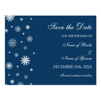 Blue White Save the Date Winter Wedding Postcard
