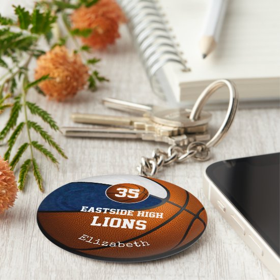 blue white school colors girls' basketball team keychain