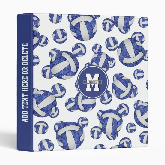 blue white school colors girly volleyball pattern 3 ring binder