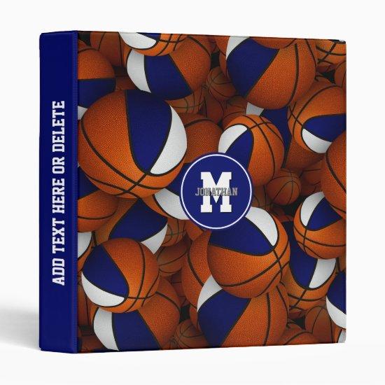blue white school colors kids basketball 3 ring binder