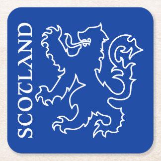 Blue & White Scotland Lion Rampant Emblem Square Paper Coaster