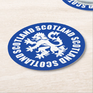Blue & White Scottish Lion Rampant Emblem Round Paper Coaster