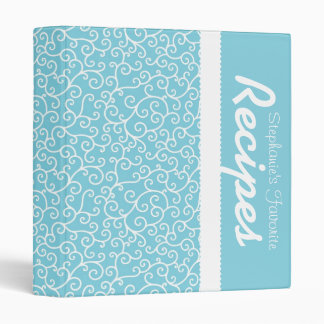 Blue & White Scrollwork Personalized Recipe 3 Ring Binder