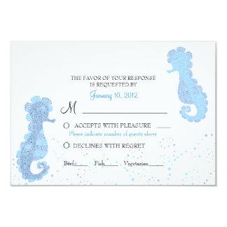 Blue & White Seahorse Pointillism Custom RSVP Announcement