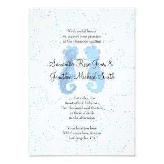 Blue & White Seahorse Pointillism Custom Wedding Cards
