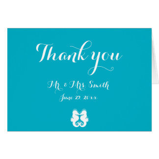 Blue White Seahorse Wedding Thank You Cards
