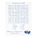 """Blue, White """"Search for Love"""" Wordsearch Game Letterhead Template"""