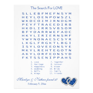 "Blue, White ""Search for Love"" Wordsearch Game Letterhead"
