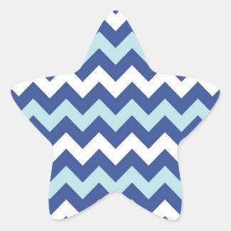Blue white shades chevron pattern star sticker