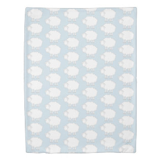 Blue & White Sheep Pattern Kid's Twin Duvet Cover at Zazzle