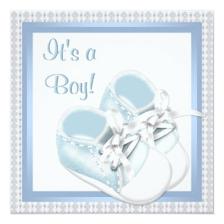 Blue White Shoes Blue Lace Baby Boy Shower Custom Invite