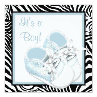Blue White Shoes Blue Zebra Baby Boy Shower Card