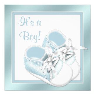 Blue White Shoes Elegant Blue Baby Boy Shower Custom Invite