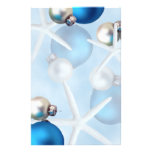 """Blue White Silver Starfish Ornaments Blank Paper 5.5"""" X 8.5"""" Flyer"""