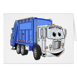 Blue White Smiling Garbage Truck Cartoon Card