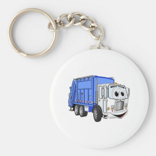 Blue White Smiling Garbage Truck Cartoon Key Chain