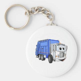 Blue White Smiling Garbage Truck Cartoon Keychain