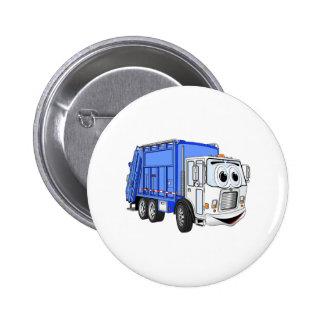 Blue White Smiling Garbage Truck Cartoon Pinback Button