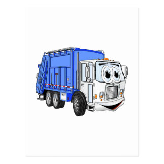 Blue White Smiling Garbage Truck Cartoon Post Cards