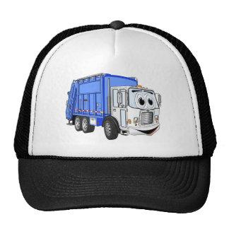 Blue White Smiling Garbage Truck Cartoon Trucker Hat
